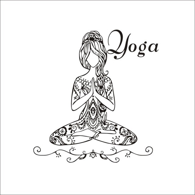 Hot Saling Yoga Meditate Pose Girls Wall Sticker Bedroom Removable Art Home Decor PVC Decals 57cm
