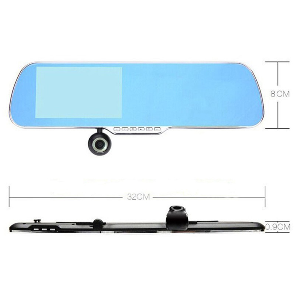 Touch Android GPS WiFi FM Parking Rearview Mirror 5 inch HD Dash Cam Dual Camera DVR Car Camera