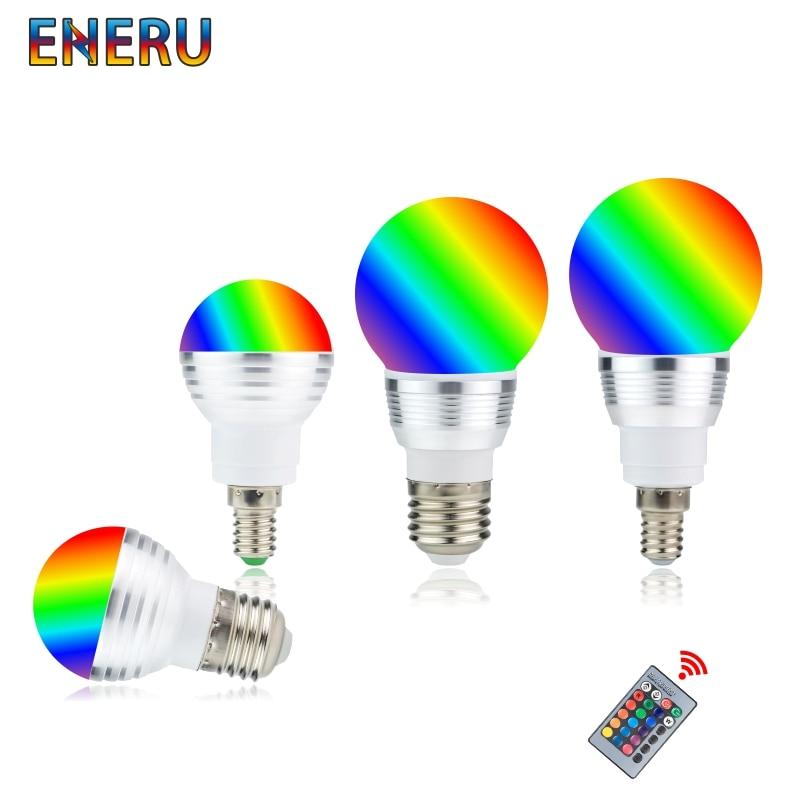 LED RGB Bulb 3W 5W E27 E14 16 Color Changing RGB Magic Light Bulb Lamp 85-265V 110V 220V RGB Led Spotlight With Remote Control