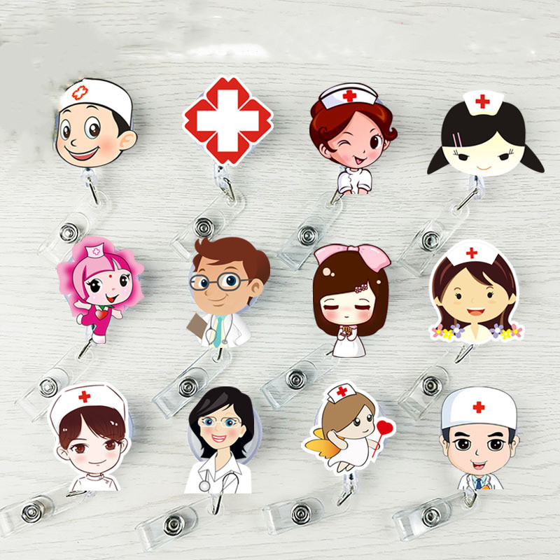 Cute Retractable Badge Holder Reel Student Nurse Exhibition ID Enfermera Name Card Badge Holder Office Stationery Supply