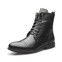 Western Shoes Men Genuine Cow Leather High Boots Classical Men Shoes Breathable Lace up Teenager Boys Causal Footwear Black Shoe