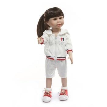 NPK Doll American princess Size 45 cm Gift for Girl Long Hair Boneca Brinquedos vinyl babies girl bebes reborn