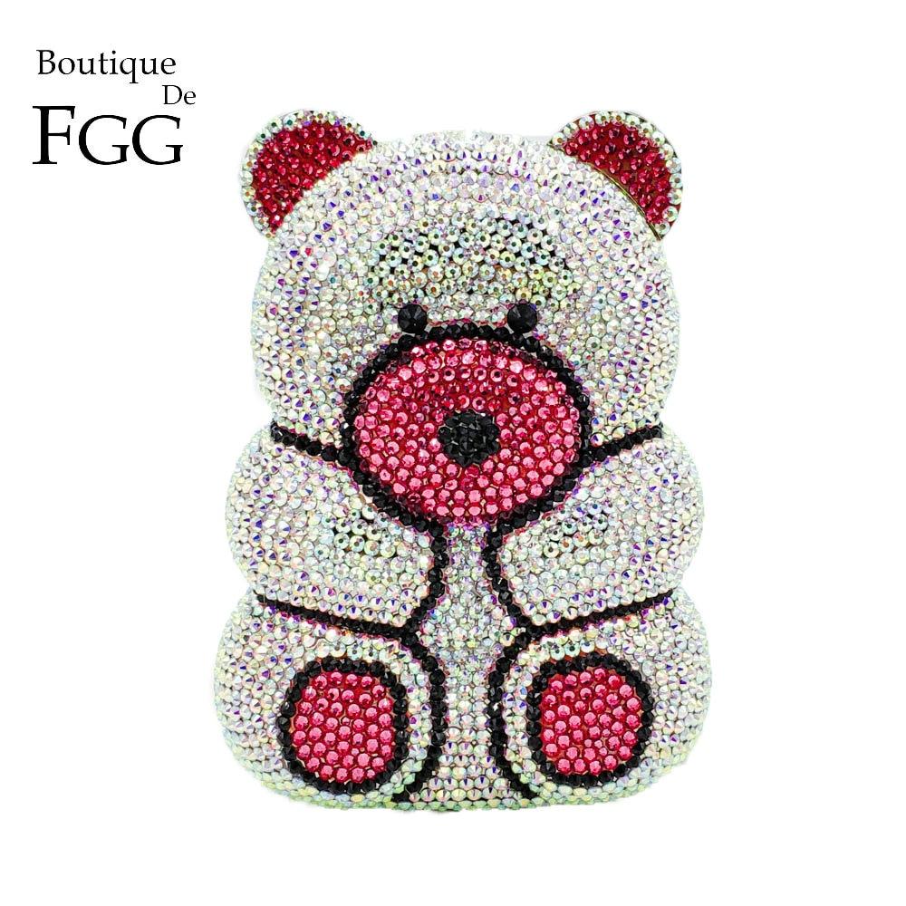 Boutique De FGG Dazzling 3D Shape Bear Teddy Clutch Women Silver Crystal AB Evening Handbag and