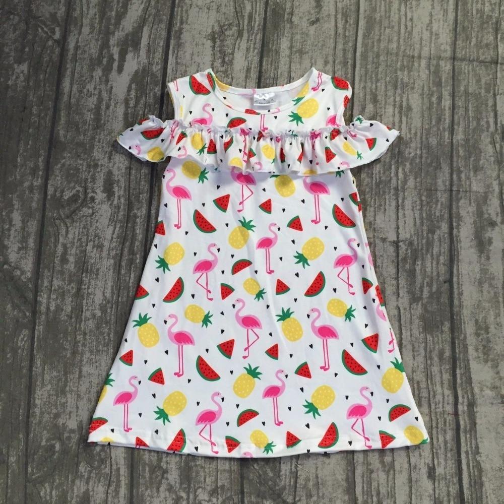 2018 новое летнее платье для девочек эксклюзивная одежда для детей Фламинго узор длинное платье супер мило для маленьких детей одежда платье ...