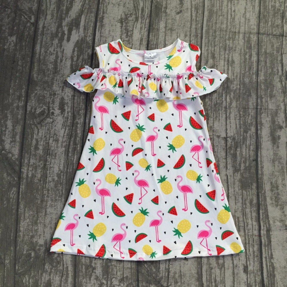 2018 new Summer dress girls kids boutique clothing flamingo pattern maxi dress super cute baby kids wear short sleeves dress
