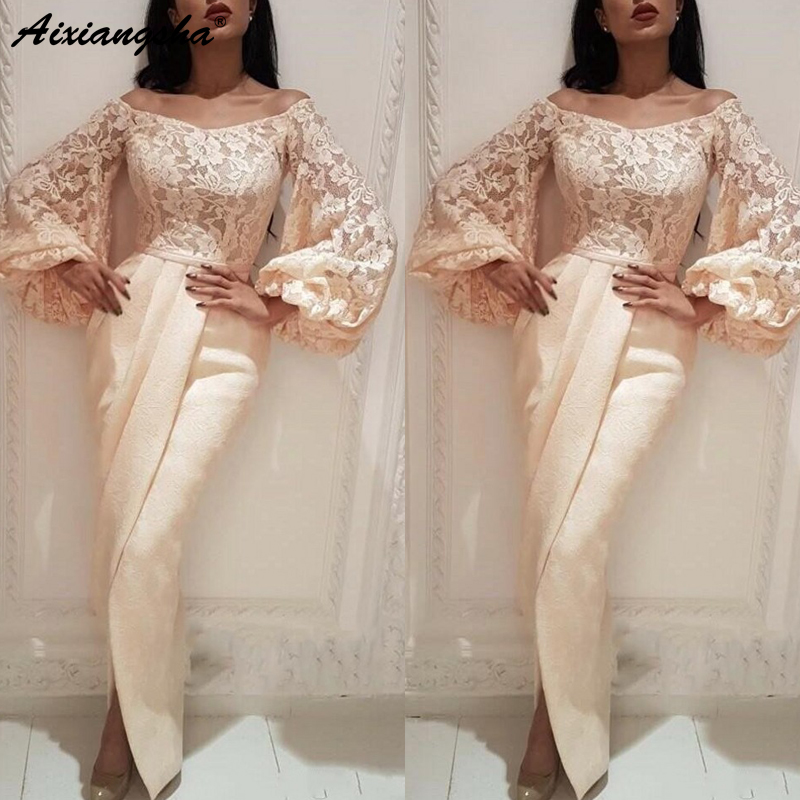 Exclusive Ivory Long Sleeves   Evening     Dress   2019 Lace Appliques Front Split Floor Length Mermaid Arabic Formal   Evening   Gowns