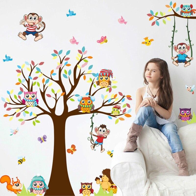 DIY Ağacları Meymun Bayquş Şirin Heyvan Divar Stikeri Uşaqlar - Ev dekoru - Fotoqrafiya 3