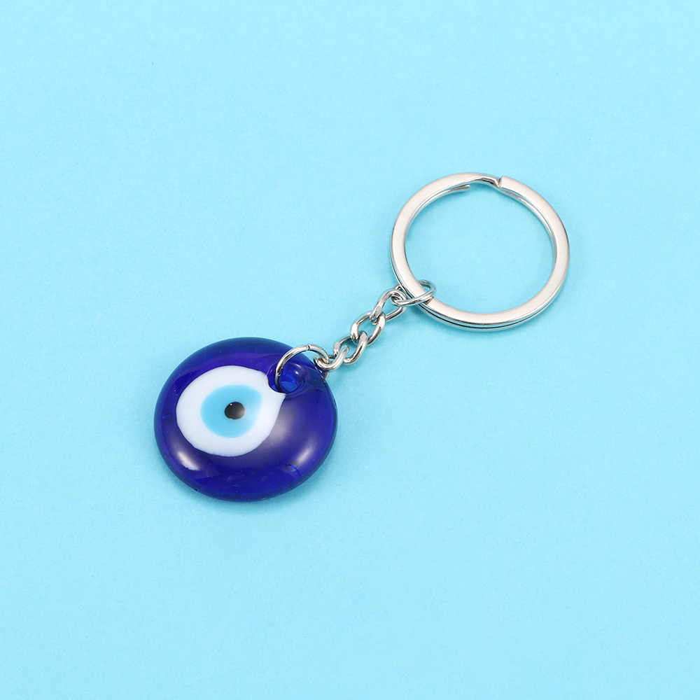 1Pc Blue Keychain 30 มม.แฟชั่น Lucky ตุรกีภาษากรีก Charm จี้ของขวัญ DIY Key แหวนส่วนบุคคลอุปกรณ์เสริม