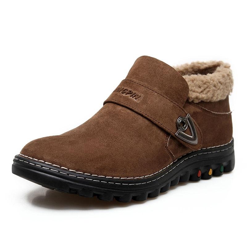 Online Shop 2015 Genuine Leather Snow Boots Men Warm Mens Winter ...