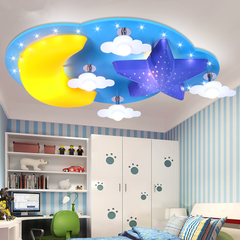 Creative Cartoon star moon children's room bedroom ceiling lamp led boys and girls cartoon children room lighting creative cartoon baby cute led act the role ofing boy room bedroom chandeliers children room roof plane light absorption