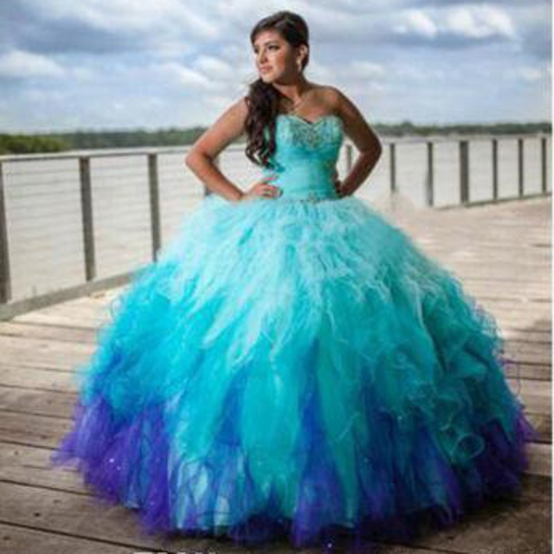 Fashion Ombre Quinceanera Dresses 2017 Ball Gown Gradient Color ...