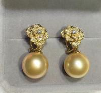 Wholesale price ^^^ New 13 14mm Natural south sea earring