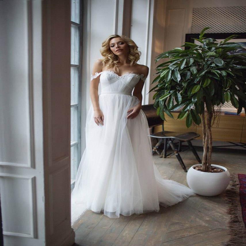Robe De Soiree Off the shoulder simple wedding dress 39 39 Fayette 39 39 Boho Chic wedding dress beach wedding dress in Wedding Dresses from Weddings amp Events