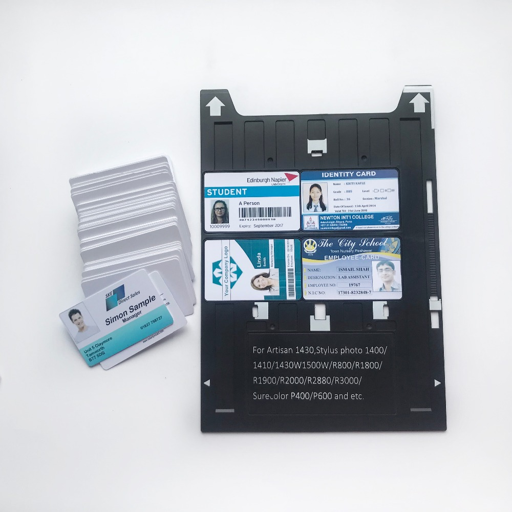 Image 3 - Inkjet PVC ID Card Tray for Epson Artisan 1430 Stylus Photo1400/1410/1430W/R800/R1800/R1900/P400 and etc printers+20pcs pvc card-in Business Cards from Office & School Supplies
