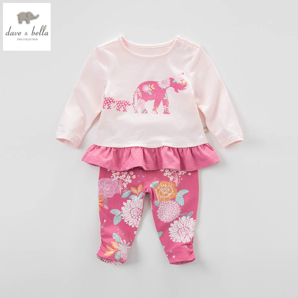 ФОТО DB4477 dave bella spring baby girls elephant floral clothing sets kids floral clothing sets toddle cloth kids sets baby costumes