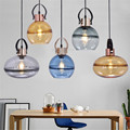 Винтажная индустриальная стеклянная подвеска для столовой  бара  фойе  декор в стиле ретро  синий/зеленый/Янтарный стеклянный подвесной све...
