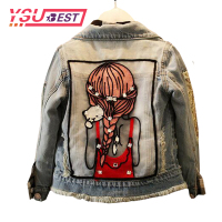 1 12Yrs Hole High Quality Spring Autumn Fashion Lovely Bright Diamond Girl Denim Outerwear Fit Children