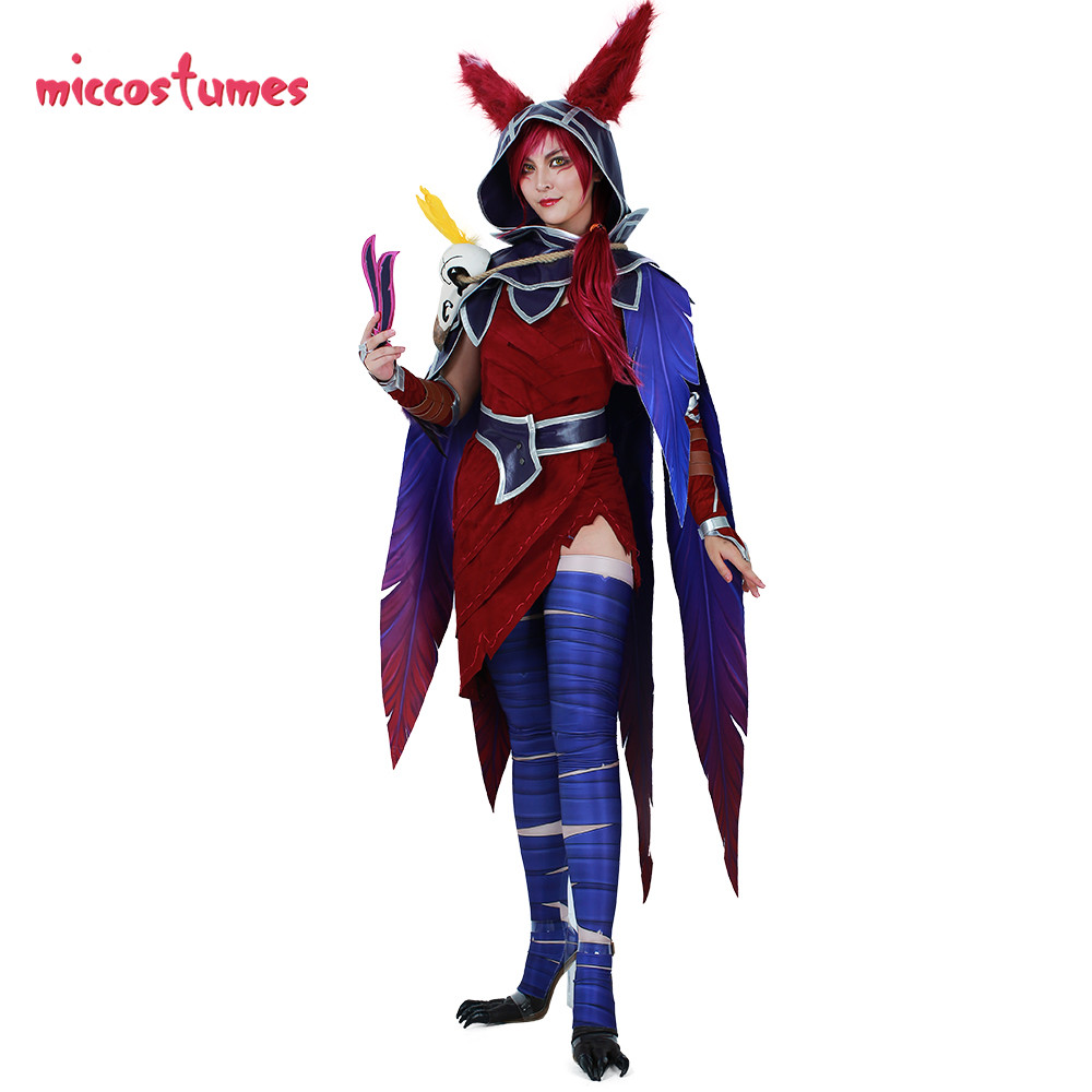 Image 2 - Xayah Cosplay Costume Woman The Rebel Halloween Outfit with Ears, Bird feet covers and Skull decoration-in Game Costumes from Novelty & Special Use