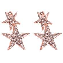 Crystal Star Moon Stud Earrings Fashion Pure 925 Silver Stud Earrings Jewelry Pendientes Brincos Fashion Jewelry
