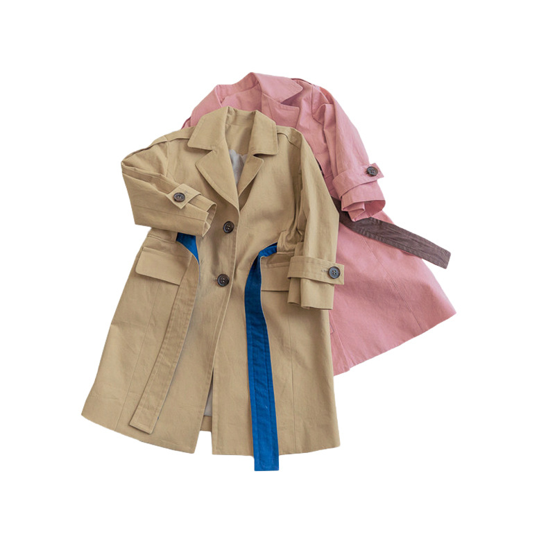 9b4c6f4be 2018 New Autumn Fashion Toddler Girls Trench Coats Solid Khaki Pink ...