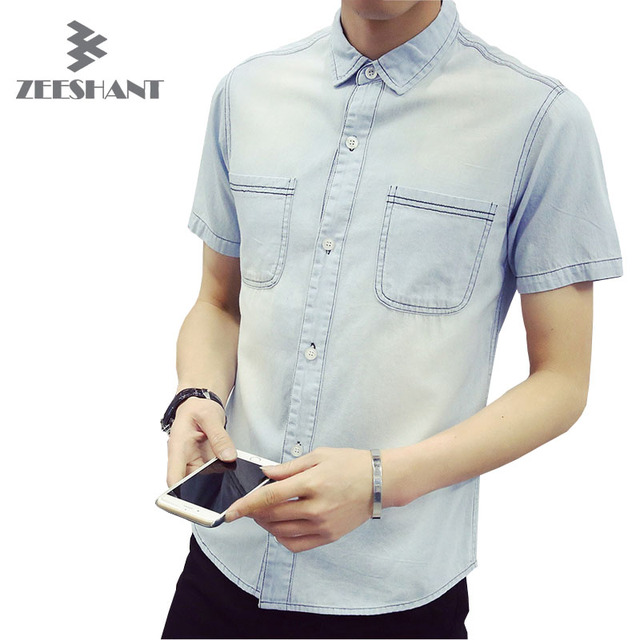 Men Summer Denim Shirt Casual Turn-down Collar Chemise Homme Short Sleeve Jeans Shirts Brand Male Denim Shirt Camisa Masculina