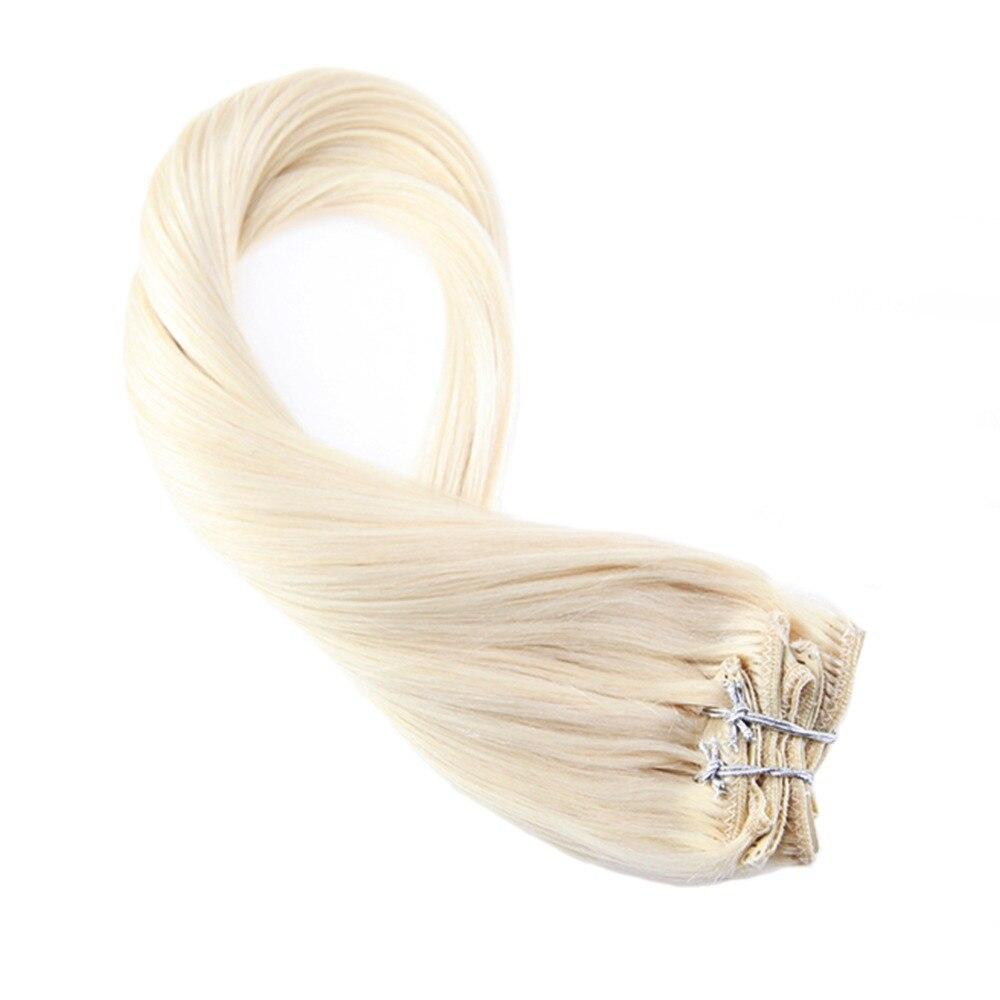 Moresoo Remy pince à cheveux en Extensions couleur #60 blond platine 100 Remy Clip en Extensions de cheveux humains Double trame 6 pièces/ensemble 50G