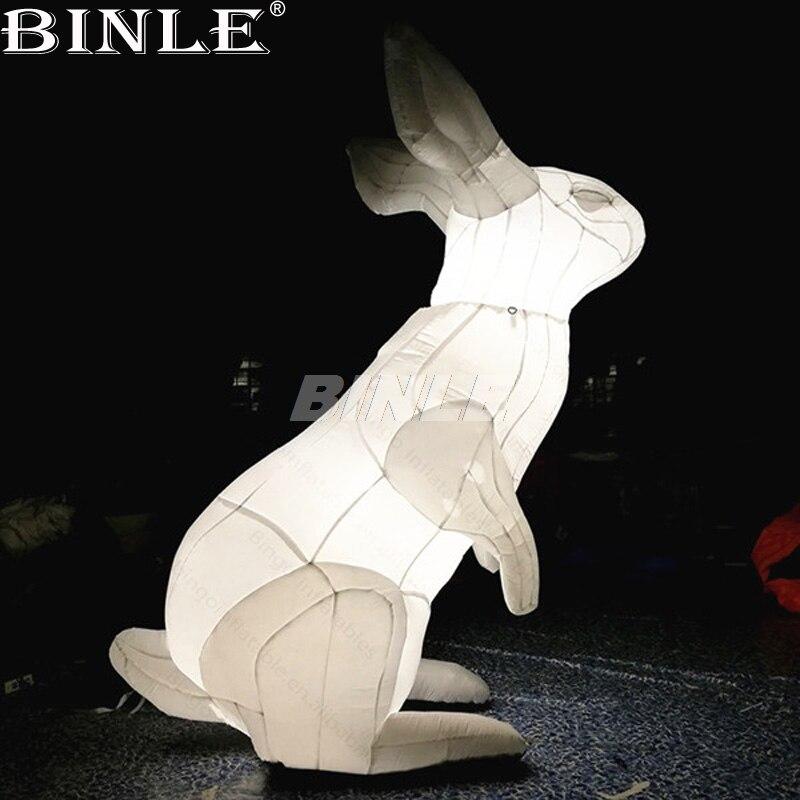 Vendita calda decorazione di pasqua di illuminazione a LED bianco gigante gonfiabile a buon mercato Coniglio del fumetto palloncini animale replica per la pubblicità