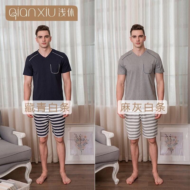 2018 Qianxiu Pyjamas Für Männer V-ausschnitt Die Beliebteste Farbe Mann Pyjamas Anzüge Mit Streifen Eine GroßE Auswahl An Waren