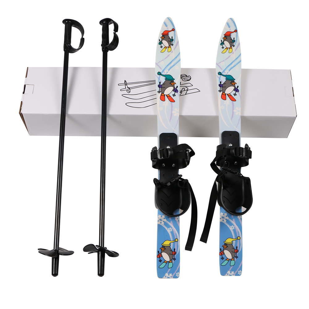 Children Ski Board Snowboarding Sled Sleigh Binding Ski Poles for Kids Skiing Snowboard Gifts Winter Sports Set
