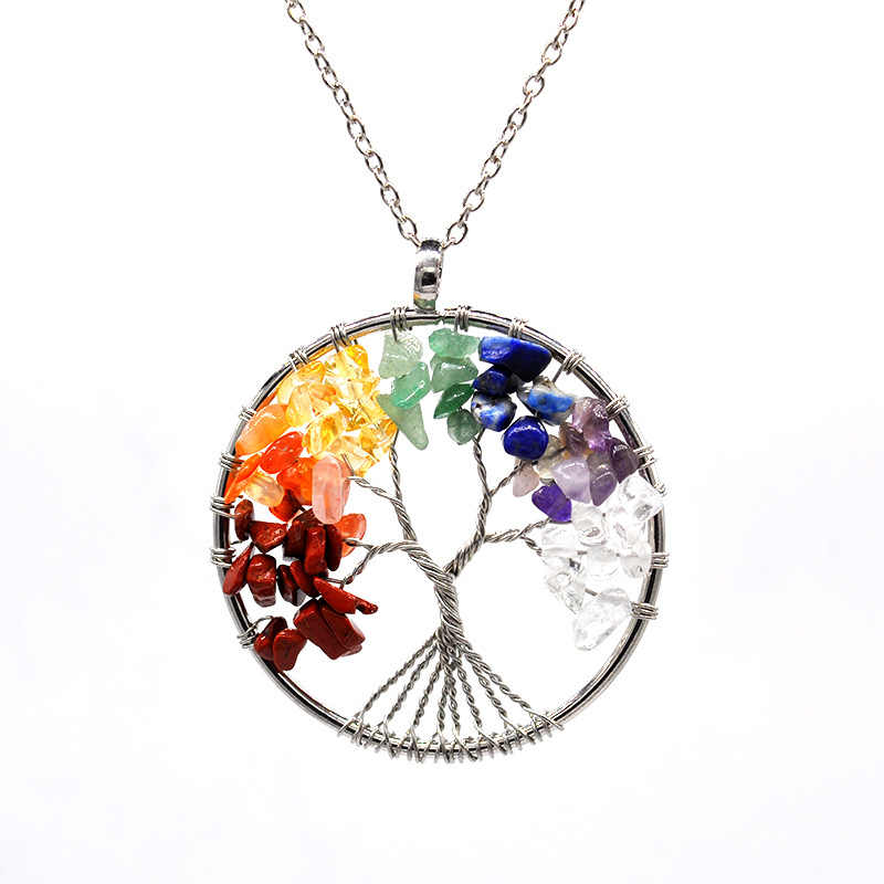 Natural crystal gravel life tree wish tree necklace round crystal tree necklace