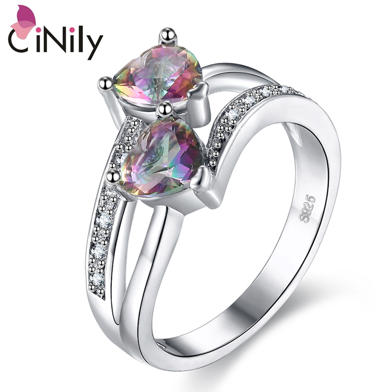 Cinily Jewelry Mystic Heart Stone Ring-Size Wedding-Gift Silver-Plated Hot-Sale Women
