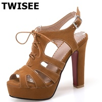 Butterfly Knot Ladies Shoes Woman Sandals Peep Toe Square Heels 12 Cm Summer Sandals Flock Leather