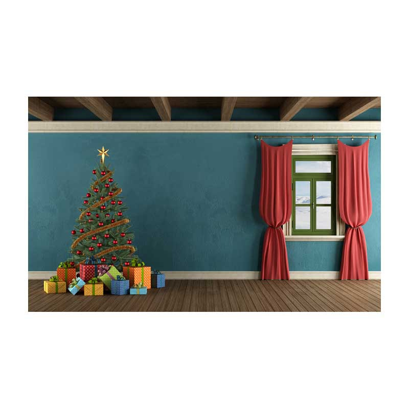Red curtains Christmas photo backgrounds fabric vintage blue photography backdrop for family photo studio portrait background family photo