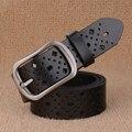 Diseño único de piel de vaca pin hebilla de cinturón cinturón de cuero de la vendimia de las mujeres de cuero real CALIENTE!! pretina para las mujeres
