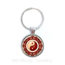 Yin Yang Keychains Black White Cross Pendant Tai Ji Jewelry Glass Cabochon Keyring Yin Yang Women Men Gifts(China)