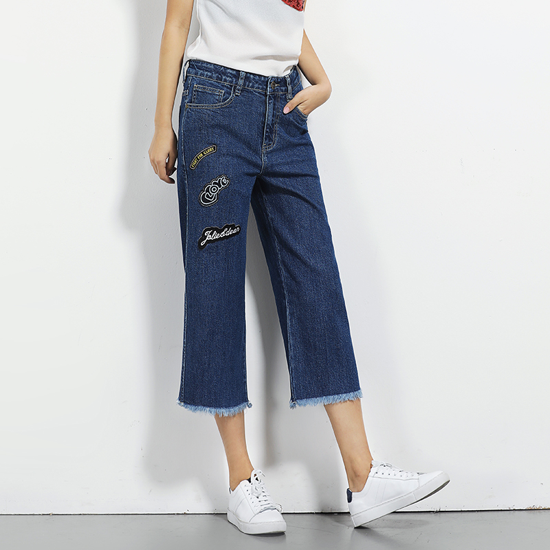 Calf length Plus size wide leg jeans pants L 6XL woman casual loose high waist embroidery pattern women jeans pockets jean femme casual loose sleeveless embroidery leaf pattern cami