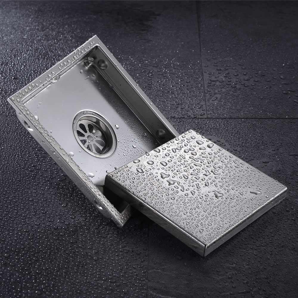بلاط إدراج مستطيلة الطابق النفايات قضبان الحمام دش استنزاف 150*150 ملليمتر ، 304 الفولاذ المقاوم للصدأ المضادة للرائحة استنزاف الأرض غير مرئية