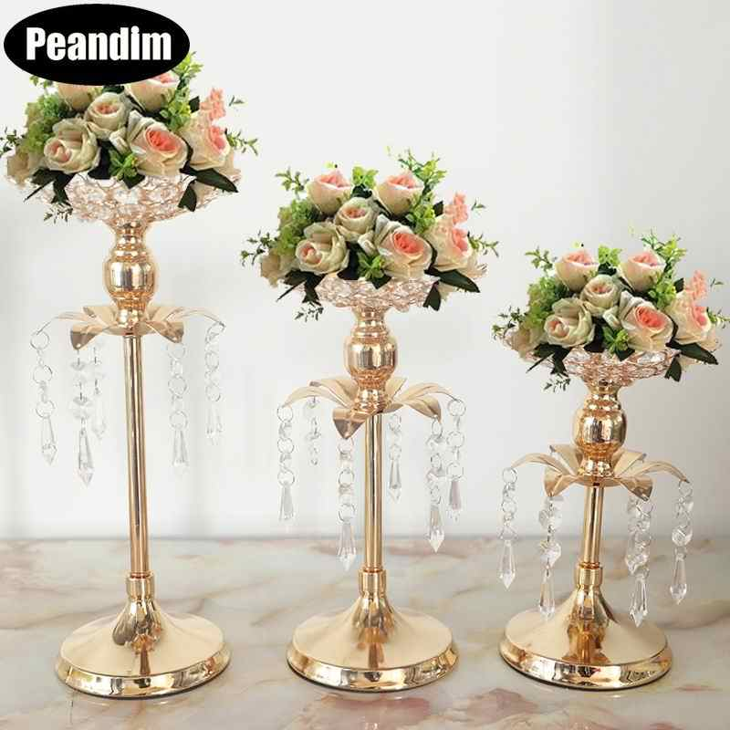 PEANDIM Gold Candelabra Centerpieces Wedding Decoration Crystal Candle Holder Party Tabletop Flower Holder Home Decor 10pcs/lot