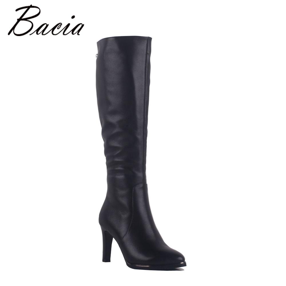 Bacia señora Sexy tacones delgados botas negro 100% Natural cuero de vaca superior abalorios hechos a mano Retro señora invierno SA014