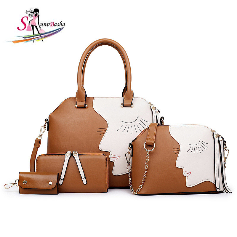 Brand Sale Bags 2017 New European American Luxury Handbags Four Sets Of Smiling Face Stitching Women