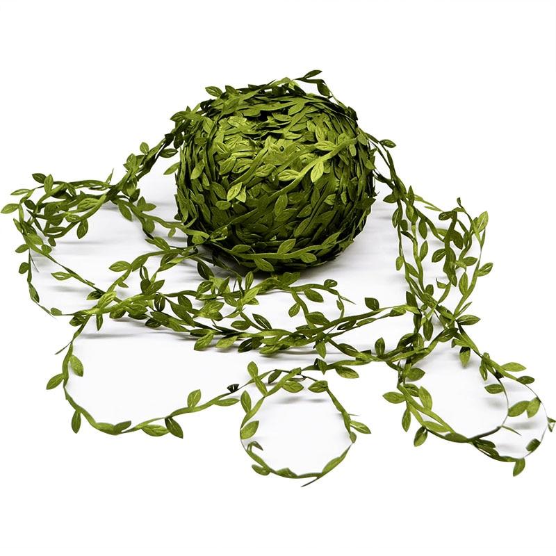 10 Meter 2Pcs Silk Nature Green Artificial Leaf Leaves Vine Wedding Decor Foliage Scrapbooking Craft Wreath Fake Flowers Garland