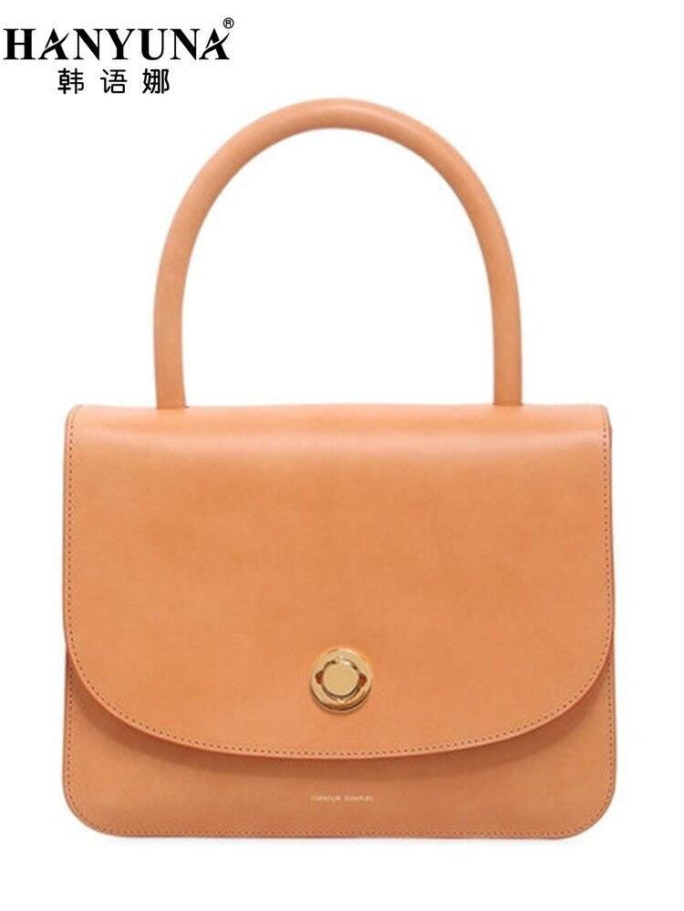 HANYUNA BRAND New Fashion Women Top-Handle Bags Genuine Leather Ladies Handbags Luxury European Gentlewomen Bags