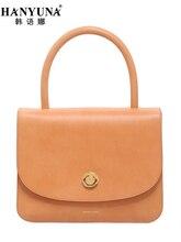 HANYUNA BRAND New Fashion Women Top Handle Bags Genuine Leather Ladies Handbags Luxury European Gentlewomen Bags