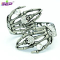 New 2014 Vintage Bracelets Hand Palm Skeleton Skull Bracelet Bangles with Rhinestone Crystals Women Jewelry Free Shipping