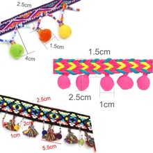 FENGRISE Lace Ribbon Sewing Accessories 2 yard 1.8cm Pom Pom Tassel Pompoms Trim Ball Fringe Embroidery  DIY Apparel Fabric Cord