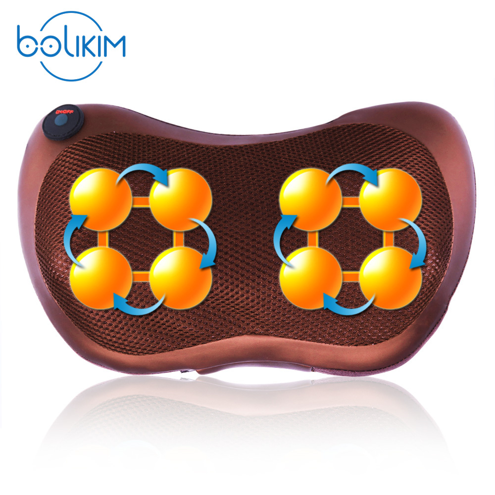 BOLIKIM Brand Home Car Electric Infrared Heating Kneading Neck Shoulder Back Body Spa Massage Pillow Car Chair Shiatsu Massager 2016 new arrival kneading massager with heat great at home spa machine for neck back shoulder