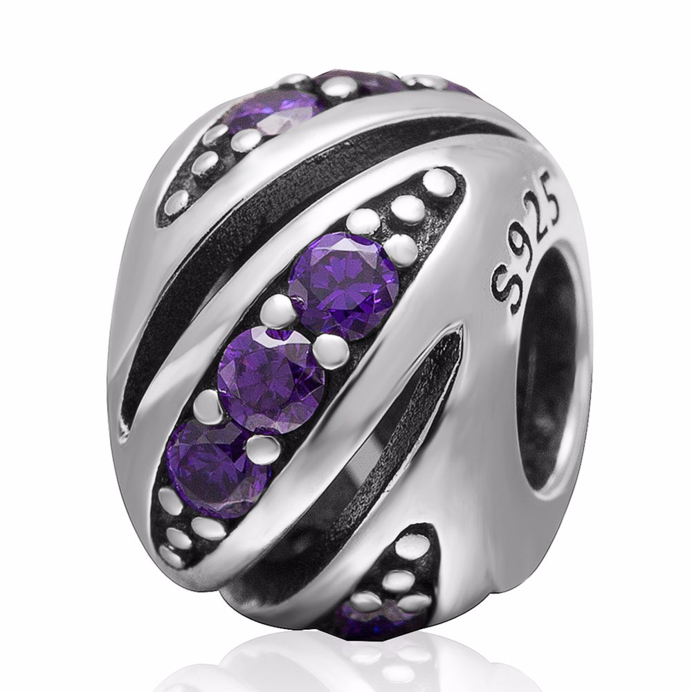 925 sterling silver beads women fit pandora DIY necklaces & bracelets Charms jewelry purple rose Crystal - CRYSTAL BEADS store