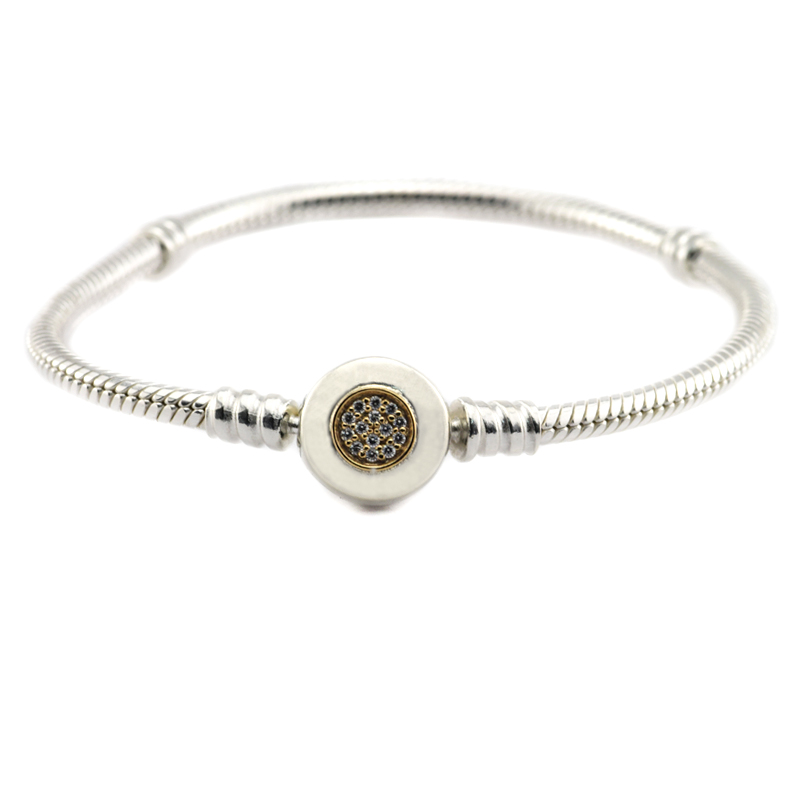 Sterling Silver Jewelry Round Clasp Bracelet Snake Chain Bracelets For Women 925 Silver Charms Bracelet With