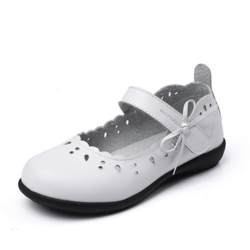 2017 Children Girls 100% Genuine Leather Shoes For Kids Girls Dress Shoes Lovely Bowknot Black Flat Dancing Shoes For Wide Feet