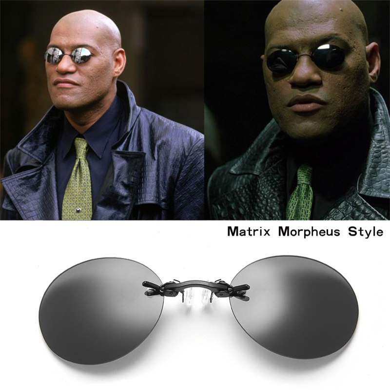 5f4f3208609d0 Classic The Matrix Morpheus Style Cosplay Props Round Frameless Resin Lens  Vintage Sunglasses Mens Cosplay Accessories